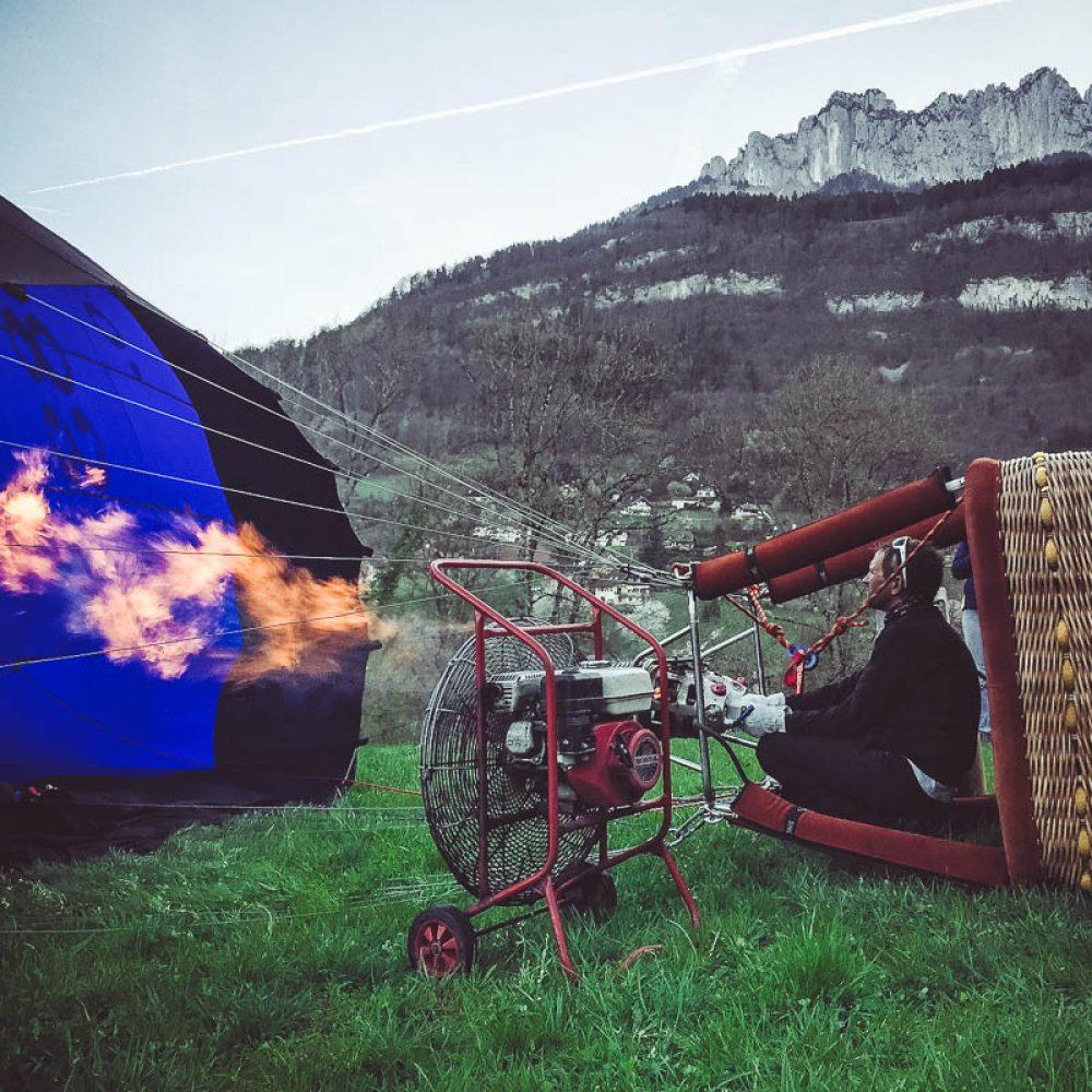 Gonflage de la montgolfière