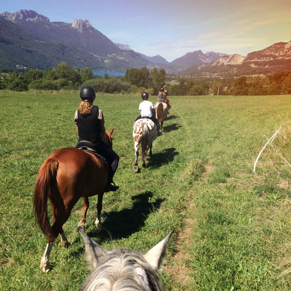 Enfants se baladent à dos de poney dans la campagne